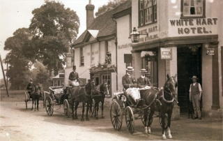 Carriages outside the White Hart, Hook