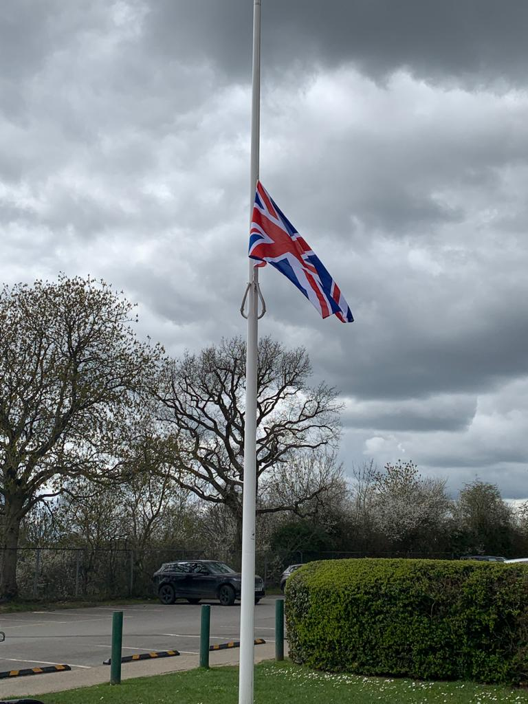 Union Jack flying at half mast in Hartletts Park