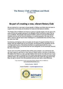 Odiham & Hook Rotary Club recruitment for members poster
