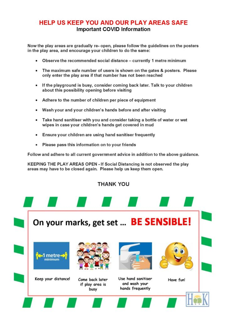Poster detailing how to keep safe when using the play areas