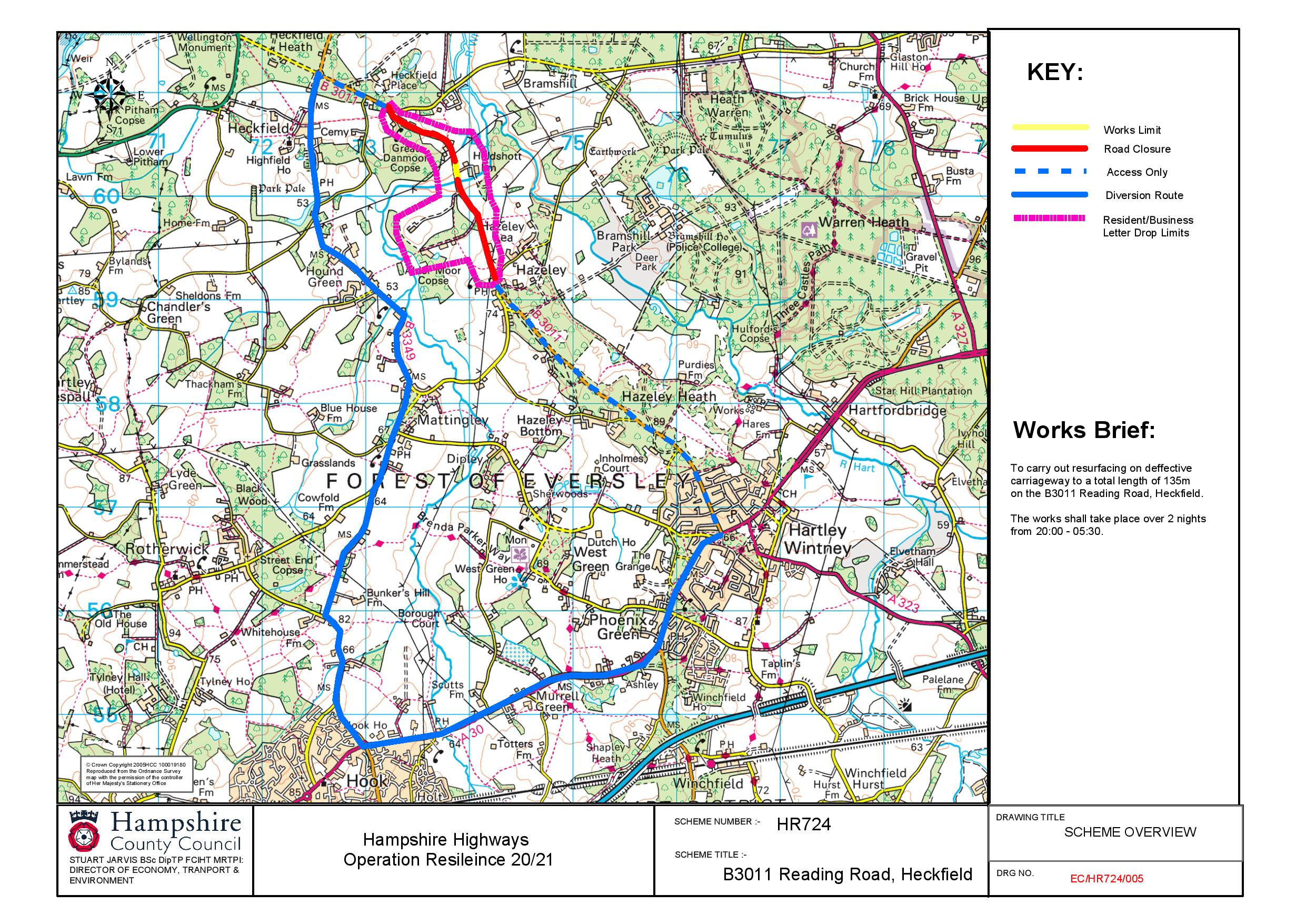 Map of Roadworks on B3011 Reading Road, Heckfield (HR7724)