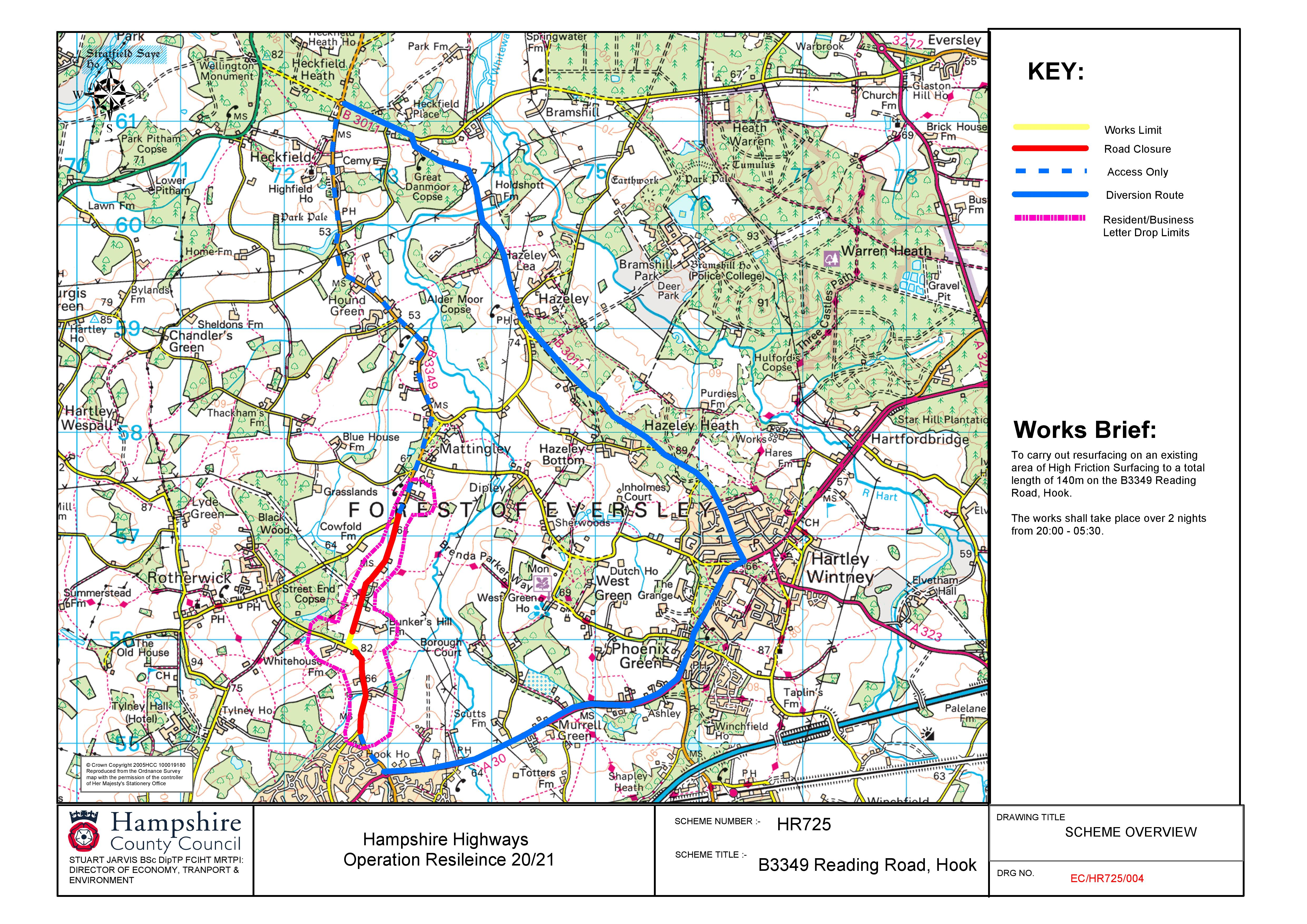 Map of Roadworks on B3349 Reading Road, Heckfield (HR7725)