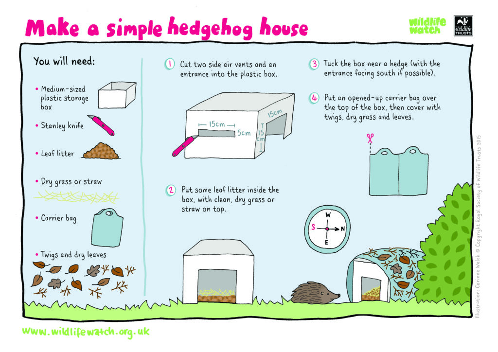 Instructions detailing how to make a simple hedgehog house