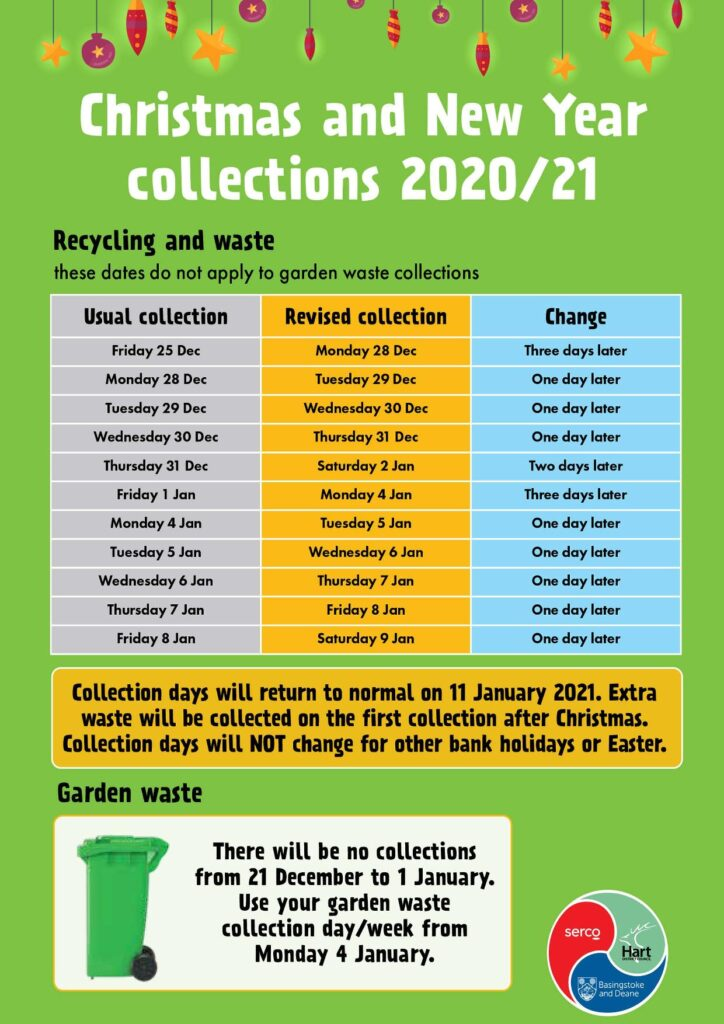Picture showing the changes to refuse and recycling days
