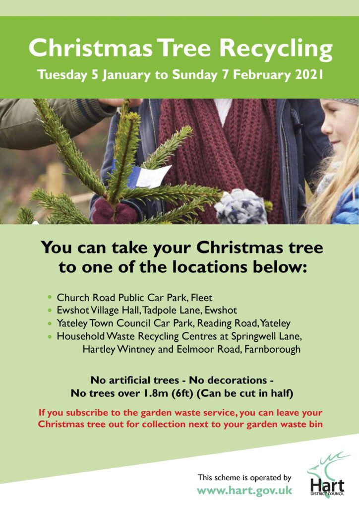 Poster detailing Christmas Tree collection sites in Hart