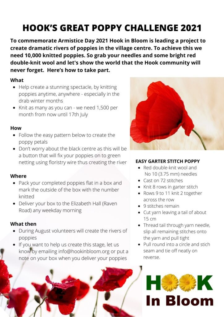 Poster detailing what you need to do to take part in Hook In Blooms Poppy Challenge