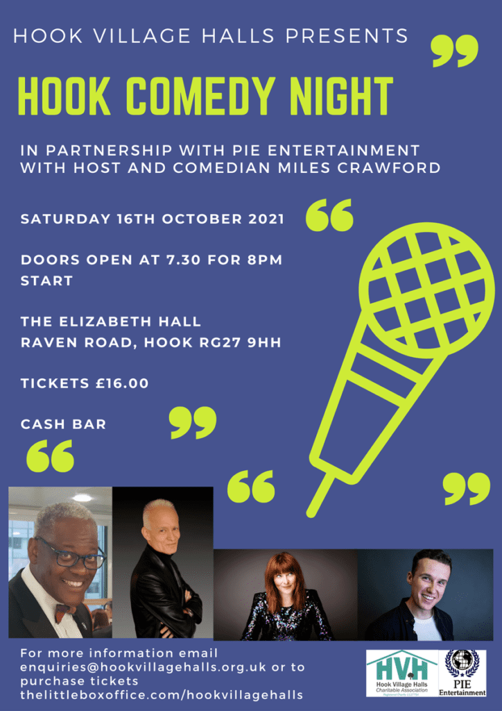 Poster detailing the Comedy Night at Elizabeth Hall